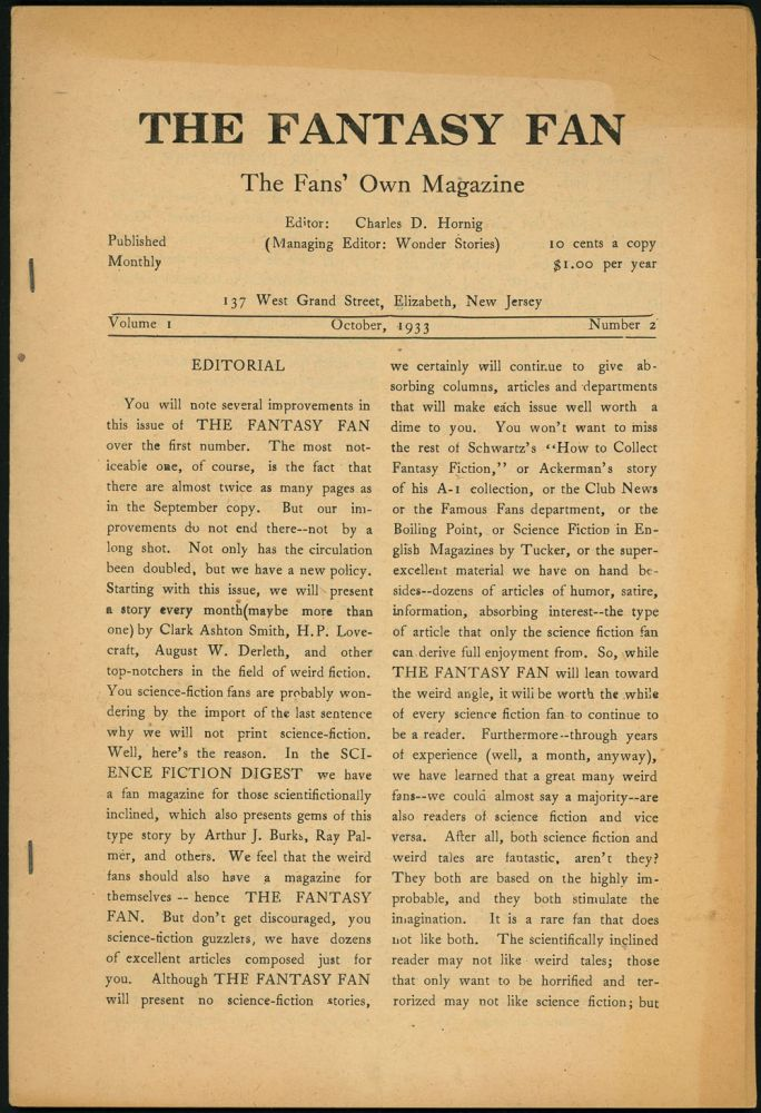 THE FANTASY FAN. THE. October THE FANTASY FAN: THE FANS' OWN MAGAZINE, 1933, number 2. volume 1, Charles D. Hornig.