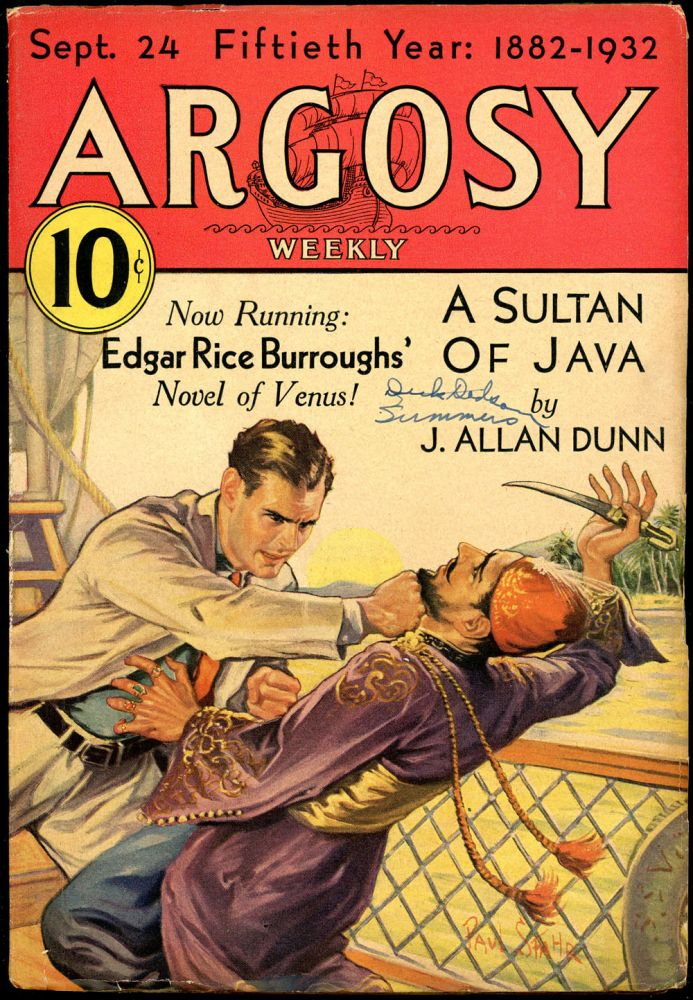 ARGOSY. Edgar Rice Burroughs, 1932 ARGOSY. September 24, No. 6 Vol. 232.