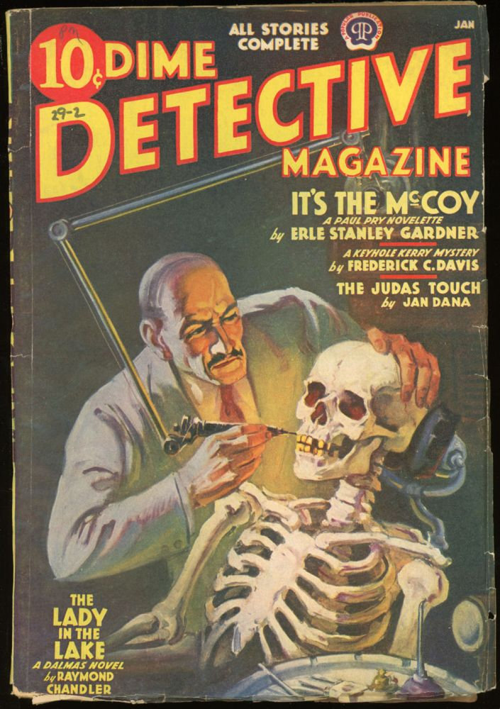 DIME DETECTIVE MAGAZINE. RAYMOND CHANDLER, DIME DETECTIVE MAGAZINE. January 1939, No. 2 Volume 29.
