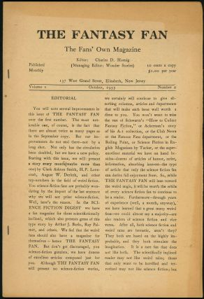 THE FANTASY FAN. THE. October THE FANTASY FAN: THE FANS' OWN MAGAZINE, 1933 ., Charles D. Hornig,...