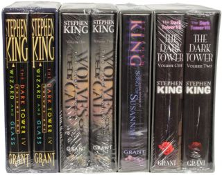 THE DARK TOWER SERIES; VOLUMES I-VII: THE GUNSLINGER, THE DRAWING OF THE THREE, THE WASTELANDS, WIZARDS AND GLASS, WOLVES OF THE CALLA, SONG OF SUSANNAH, THE DARK TOWER and THE LITTLE SISTERS OF ELURIA.