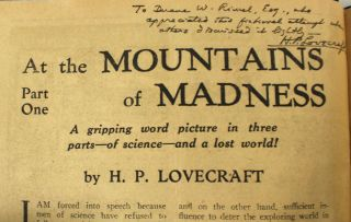 """AT THE MOUNTAINS OF MADNESS."" A complete set of tear sheets of the first appearance of this..."